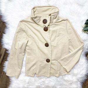 • Neon Buddha Cotton Blend Tan Button Cardigan •